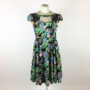 HEARTS & ROSES Green Floral Dress Fit & Flare